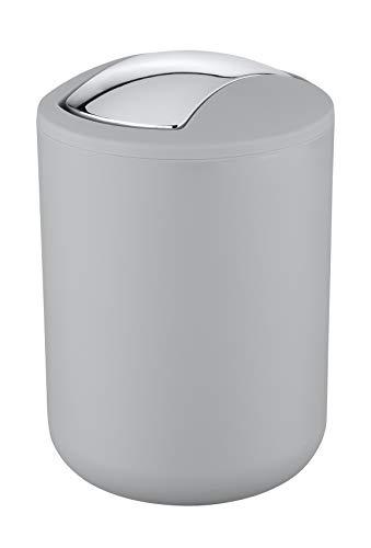 Wenko Kosmetikeimer Brasil S 2 Liter, Badezimmer-Mülleimer mit Schwingdeckel, kleiner Abfalleimer aus bruchsicherem Kunststoff, Ø 14 x 21 cm, grau