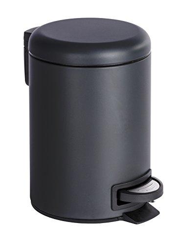 Wenko 22143100 Kosmetik Treteimer Leman, Fassungsvermögen 3 L, Stahl, schwarz, 22,5 x 17 x 25 cm