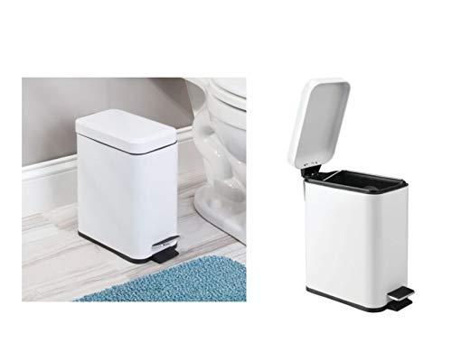 iDesign Basic Mülleimer, Treteimer aus Kunststoff und Metall mit Deckel für Küche und Badezimmer, weiß