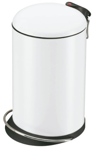 Hailo TOPdesign M, Mülleimer aus Stahlblech, 13 Liter, breite Metall-Fußreling, Müllbeutel-Klemmung, Metall-Tragegriff, made in Germany, 0514-340