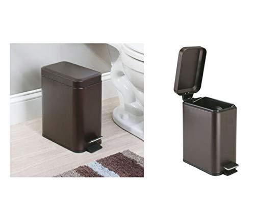 InterDesign Basic Mülleimer, Treteimer aus Kunststoff und Metall mit Deckel für Küche und Badezimmer, bronzefarben