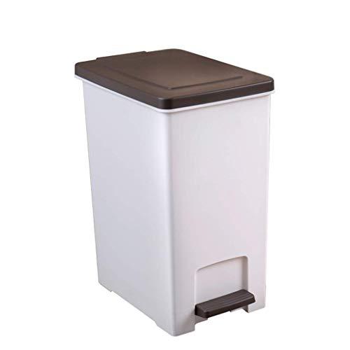 KYCD Mülleimer aus Kunststoff für Haushalt Badezimmer Wohnzimmer Schlafzimmer Küche Mülleimer Tretmülleimer mit Deckel (Farbe: weiß) braun