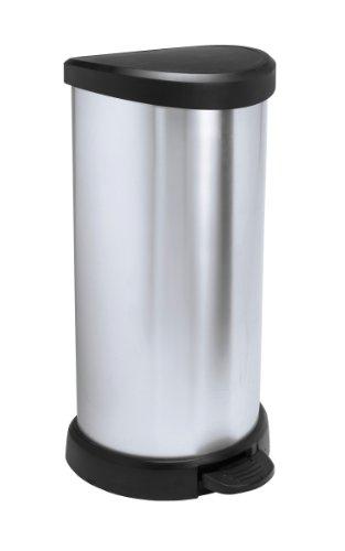 "Curver 02150 ""Metallic's"" Abfallbehälter 40 Liter, metallic-silber"
