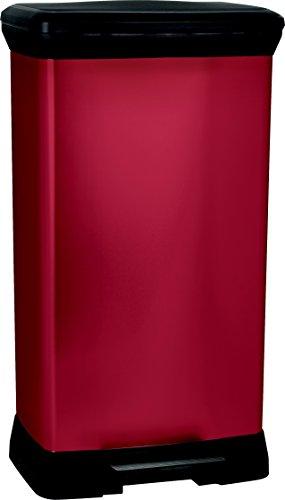 CURVER 187181Treteimer, rechteckig, Metall/Kunststoff, rot, 39x29x73cm, 50L