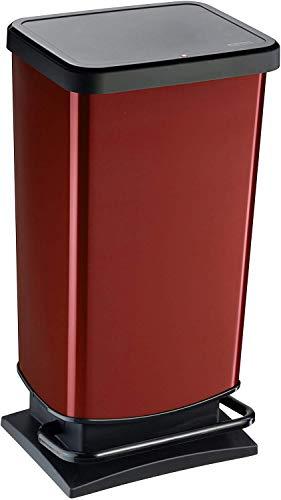 """Rotho Mülleimer """"Paso"""" 40 Liter│ geruchssicherer Abfalleimer - 35.3x29.5x67.6cm│ Papierkorb aus Kunststoff (PP) in Edelstahl-Optik │ Tretmechanismus zum Öffnen des Abfallbehälters"""