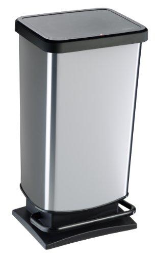 Rotho 1754110264 geruchssicherer Abfalleimer Silber Metallic 40 Liter