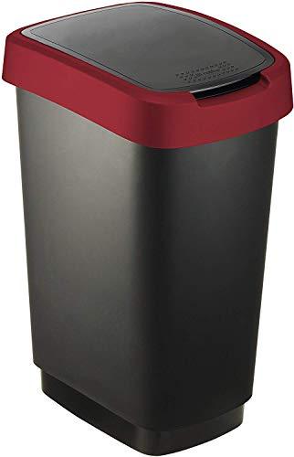 Rotho Twist Mülleimer 50 l, Kunststoff (PP), schwarz / rot, 50 Liter (40,1 x 29,8 x 60,2 cm)
