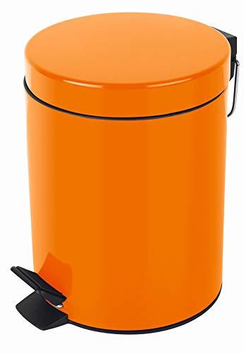 Spirella Kosmetikeimer Sydney Orange Mülleimer Treteimer Abfalleimer - 5 Liter – mit herausnehmbaren Inneneimer
