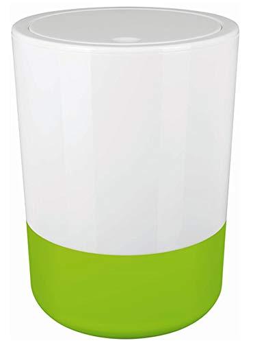 """Spirella Design Kosmetikeimer """"Moji"""" Bad Treteimer Schwingdeckeleimer Abfallbehälter mit Schwingdeckel 5 Liter mit Silikonboden Weiß/Grün"""