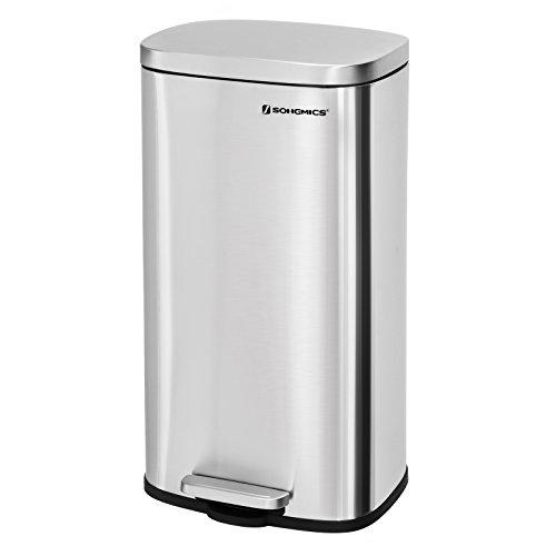 SONGMICS Mülleimer Treteimer für die Küche, Softclose, Abfalleimer mit Deckel und Inneneimer, 30 L Abfallbehälter aus Edelstahl, geruchsdicht und hygienisch LTB03NL