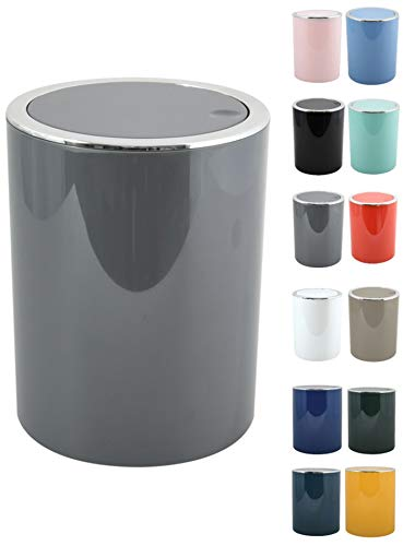 MSV Bad Serie Aspen Design Kosmetikeimer Bad Treteimer Schwingdeckeleimer Abfallbehälter mit Schwingdeckel 6 Liter (ØxH): ca. 18,5 x 26 cm Grau