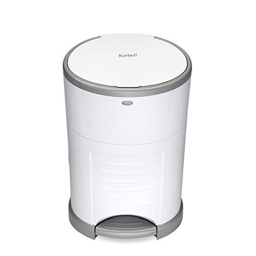 KORBELL - STANDARD - Windelabfallbehälter - 16 L - Weiß - Ökonomisch - Ökologisch - Pedal - Fassungsvermögen von 45 Mänteln
