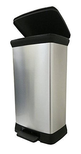 Curver Treteimer mit Metall-Effekt, Kunststoff, Soft Close, silberfarben, 50 Liter, 39 x 29 x 72 cm