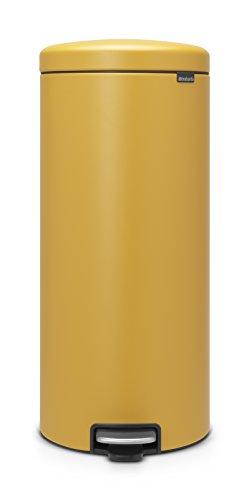 Brabantia newIcon Treteimer 30 L Sense of Luxury, Edelstahl, mineral mustard gelb, 30 Liter
