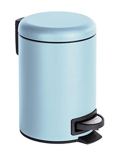 Wenko 22147100 Kosmetik Treteimer Leman, Fassungsvermögen 3 L, Stahl, blau, 22,5 x 17 x 25 cm