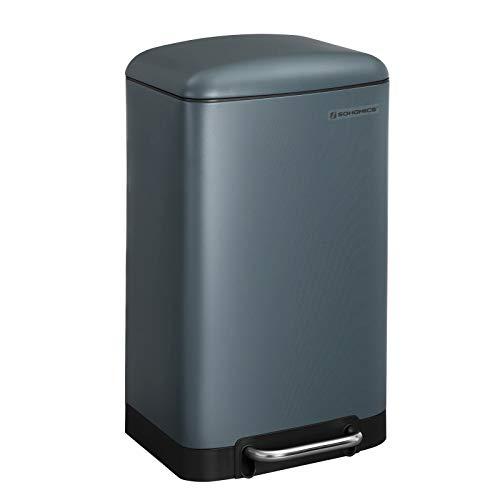 SONGMICS Mülleimer, 30 Liter Abfalleimer, Treteimer aus Stahl, mit Inneneimer und Deckel, Softclose, luftdicht, für die Küche, rauchgrau LTB01GS