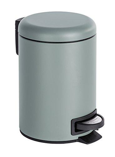 Wenko 22148100 Kosmetik Treteimer Leman, Fassungsvermögen 3 L, Stahl, grau, 22,5 x 17 x 25 cm
