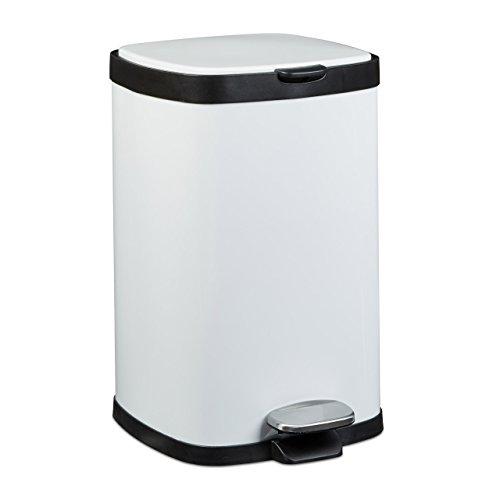 Relaxdays Treteimer 12 L, Metall, groß, eckig, Absenkautomatik, für Küche und Bad, HxD: 40 x 26 cm, Abfalleimer, weiß