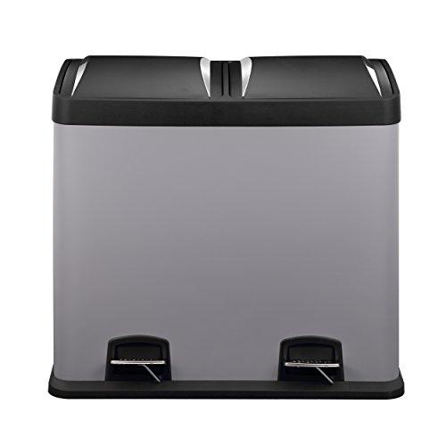 Mari Home - Kaltes Grau Mülleimer, 48 Liter, Stahl, 2-in-1-Mülltrennung, mit Fußpedal, Recycling-Mülltonne 2 x 24 l, zur Mülltrennung von Küchenabfällen