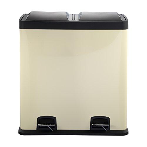 Mari Home Creme 60 Liter Stahl Mülltrenner Mülleimer Treteimer mit Inneneimer (mit 2 Kammern, 2x30 L)