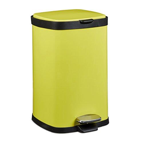 Relaxdays Treteimer 12 L, Metall, groß, eckig, Absenkautomatik, für Küche und Bad, HxD: 40 x 26 cm, Abfalleimer, gelb