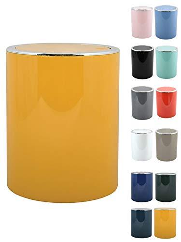 MSV Bad Serie Aspen Design Kosmetikeimer Bad Treteimer Schwingdeckeleimer Abfallbehälter mit Schwingdeckel 6 Liter (ØxH): ca. 18,5 x 26 cm Pastell Gelb