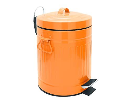 SANWOOD Treteimer Oscar orange mit Absenkautomatik, Bad-Abfalleimer 5 Liter im Mülltonnen Retro-Design, Kosmetikeimer aus pulverbeschichtetem Stahl, Metall, 21.4 x 26.4 x 29.2 cm