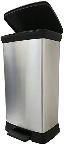 CURVER Metalloptik 50 Liter Abfalleimer, Plastik, Silber Metallic, 39 x 29 x 72