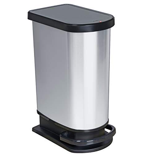 Rotho Mono Paso Mülleimer mit Klappdeckel 50 l, Kunststoff (PP), silber metallic, 50 Liter (44 x 29 x 67 cm)