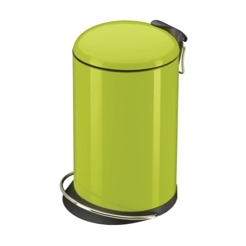 Hailo TOPdesign M, Mülleimer aus Stahlblech, 13 Liter, breite Metall-Fußreling, Müllbeutel-Klemmung, Metall-Tragegriff, made in Germany, 0516-550