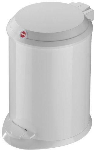 Hailo 0704-410 T1 S, Mülleimer aus Stahlblech mit Kunststoff-Deckel, 4 Liter, großer Öffnungswinkel, standfest, Tragegriff, made in Germany, Weiß