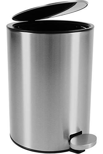 Bamodi Kosmetikeimer Edelstahl 3l - Badezimmer Mülleimer mit Softclose-System Zum Verlieben - Badeimer Absenkautomatik gebürstet - BadSoftclose-System zum Verlieben