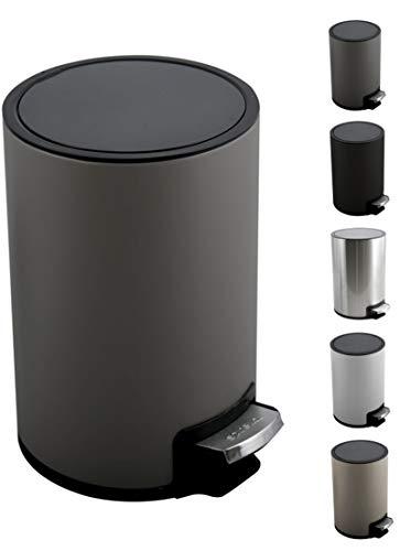 Spirella Kosmetikeimer 5 Liter Edelstahl mit Absenkautomatik und Inneneimer Riku Badezimmer Mülleimer Softclose Abfalleimer grau