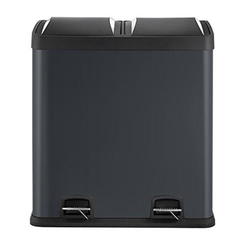 Mari Home Schwarz 60 Liter Stahl Mülltrenner Mülleimer Treteimer mit Inneneimer (mit 2 Kammern, 2x30 L)