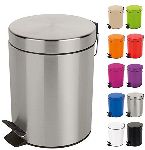 Spirella Kosmetikeimer Sydney Silber Mülleimer Treteimer Abfalleimer - 3 Liter – mit herausnehmbaren Inneneimer