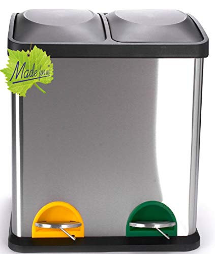30 L Edelstahl Tret-Abfalleimer 2x15 L Mülleimer 2-fach Mülltrennung 2er Müll-Trennsystem 30 Liter Abfallsammler Duo-Treteimer mit Deckel original Made for us