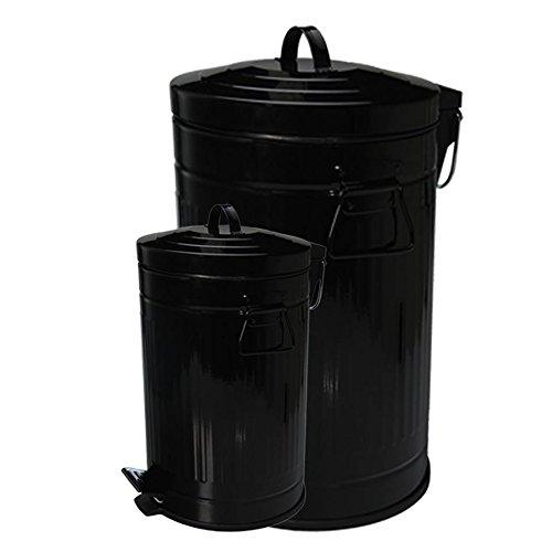 Retro Design Tretmülleimer 12+3 L Set oder 30 L Treteimer Mülleimer Kosmetikeimer Papiermülleimer Papierkorb WC Mülleimer in verschiedenen Farben (12+3 L Set schwarz)