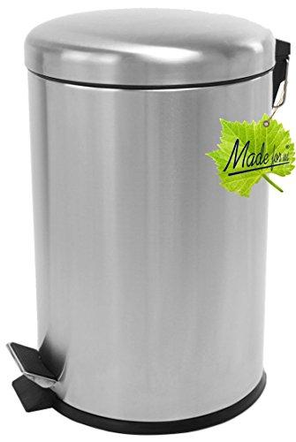 Made for us 20 L Edelstahl Tret-Abfalleimer Küchen-Mülleimer 20 Liter Abfallsammler Treteimer mit Deckel Abfall-Behälter für Gelber-Sack Kompost Rest-Müll