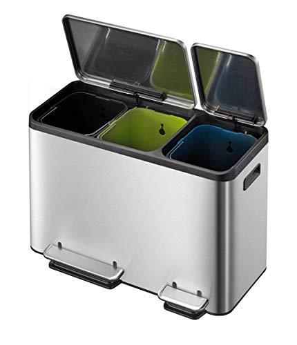 EKO Ecocasa Tretmülleimer Mülltrennsystem 3 x 15L (32.1 x 60.5 x 49.2 cm, Dämpfer-System, Fingerabdruck frei, Stay-Open, Abfallbeutelfixierung), rostfrei Edelstahl Matt, 3x15L