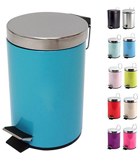 MSV 100208 Kosmetikeimer Mülleimer Treteimer Abfalleimer, blau, 3 Liter – mit herausnehmbaren Inneneimer