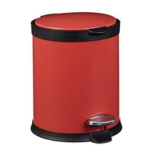 Relaxdays Treteimer 5 L aus Metall H x D: 27,5 x 23 cm Abfalleimer in Edelstahl-Optik als Abfallbehälter mit Absenkautomatik Tretmülleimer für Küche und als Kosmetikeimer im Bad Tretmülleimer, rot