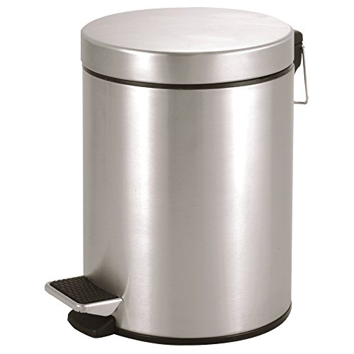 Ribelli Treteimer 5 l silberner Mülleimer ALS Abfalleimer Kosmetikeimer für Badezimmer + Küche aus Edelstahl rostfrei matt mit Deckel + Kunststoffeinsatz