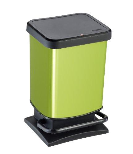 Rotho Müllkorb 20 L, Paso, Kunststoff, grün metallic, 20 Liter