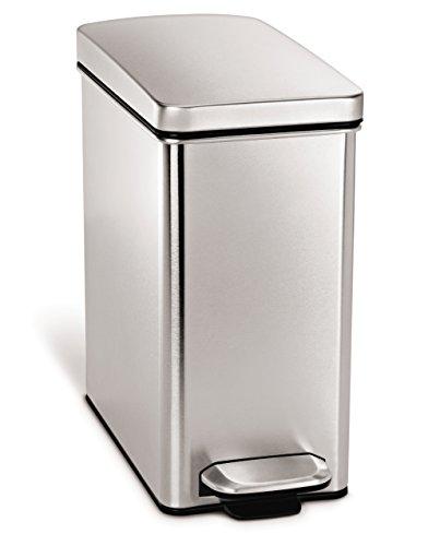 simplehuman Profile Treteimer, Tret-Mülleimer, Tret-Abfalleimer, 10 Liter, Edelstahl Plastik, Brushed Ss with Brushed Ss Lid, 10 Liter / 2.6 gallons