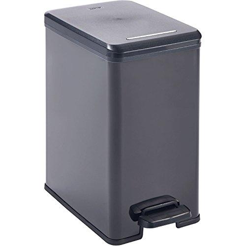 CURVER Abfallbehälter Deco-Slim 25L, Plastik, schwarz/schwarz metallic, 39.3 x 25 x 45.4 cm
