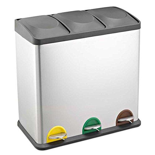 SVITA Treteimer Abfalleimer Mülleimer Mülltrennung Edelstahl (60 Liter 3x20L)