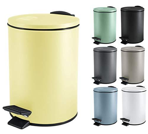 Spirella Kosmetikeimer 3 Liter Edelstahl mit Absenkautomatik und Inneneimer Adelar Badezimmer Mülleimer Softclose Abfalleimer gelb