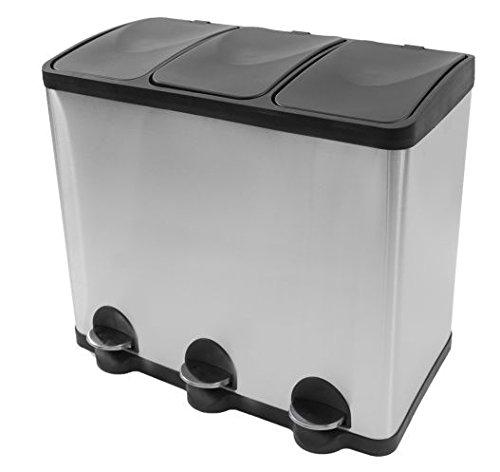 Mülleimer Küche Mülltrennung mit Inneneimer (60 Liter) - Mülltrennungssystem - Steeldesign Küche mülleimer 3 fächer - Treteimer Edelstahl 3* 20 L - Geruchsdichter Edelstahl Abfalleimer Abfallbehälter - Design Trennsystem von Steeldesign