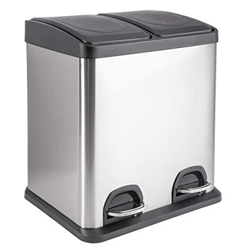 ONVAYA® Doppel Tretmülleimer Edelstahl   30L Mülltrennsystem für die Küche   Duo Abfalleimer in Silber & schwarz   Müllbehälter 2X 15L