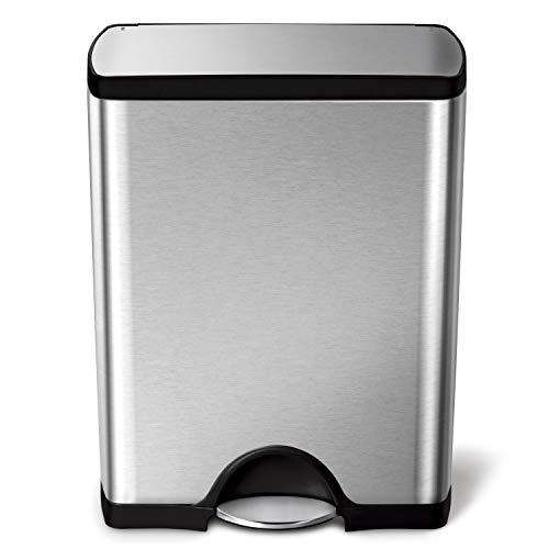 simplehuman CW1816 50 L, rechteckiger Treteimer, fingerabdrucksicherer Edelstahl, 32.50 x 50.30 x 65.30 cm